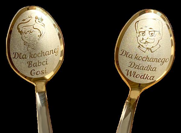 2 łyżeczki nierdzewne srebrne-złotego koloru z grawerem. prezent dla dziadków