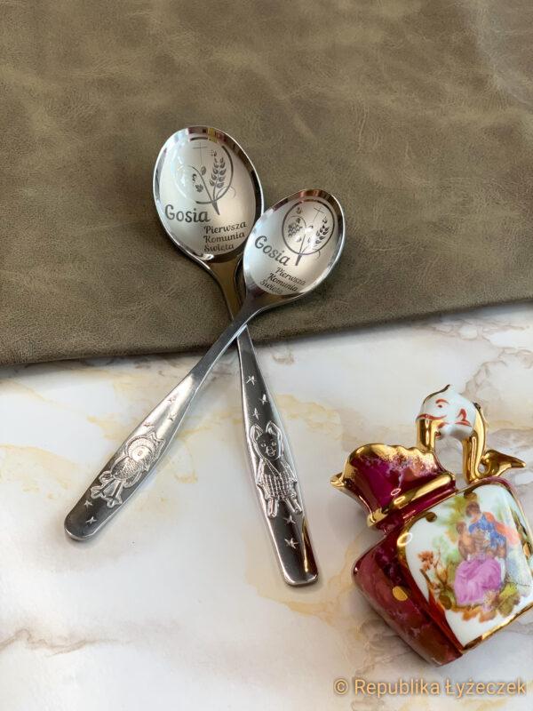 łyżka stołowa wraz z łyżeczką grawerowane z imieniem i symbolem Komunijnym