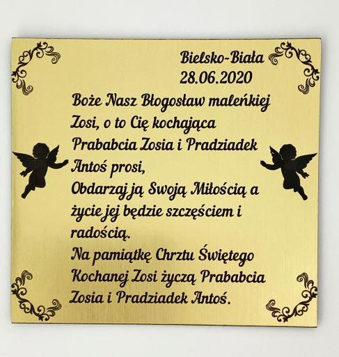 tablica z życzeniami z okazji Chrztu