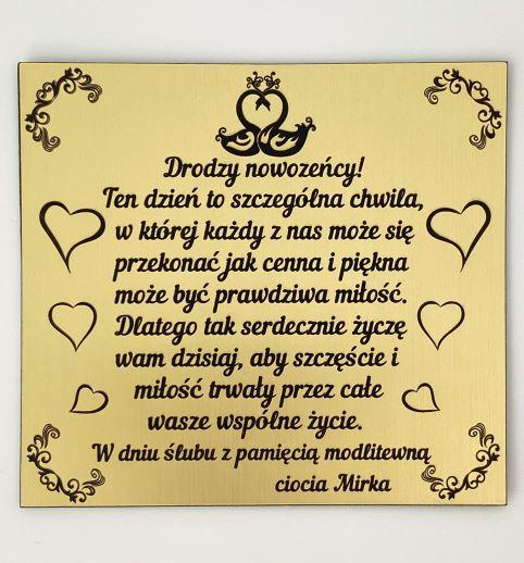 tablica z życzeniami z okazji ślubu