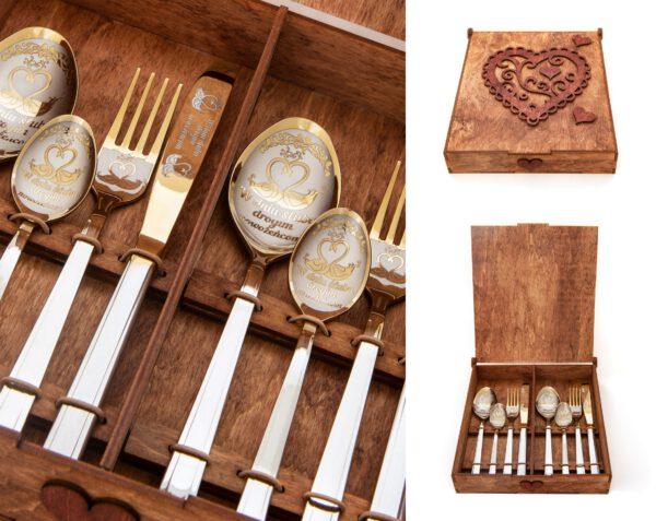 zestaw sztućców grawerowanych w pudełku jako prezent dla młodej pary.pudełko drewniane koloru dąb