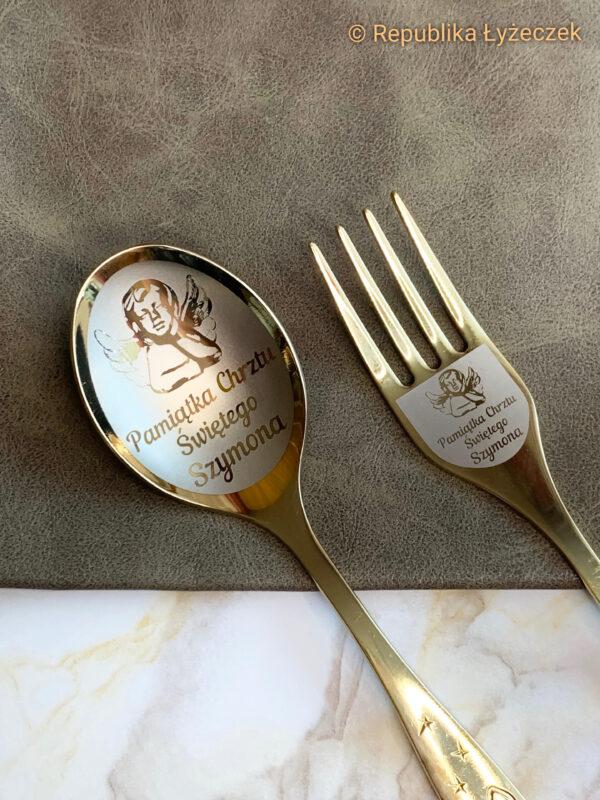łyżka z widelczykiem grawerowane złotego koloru z dedykacją Pamiątka chrztu Szymona