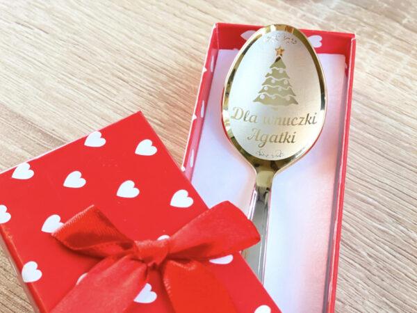 łyżeczka nierdzewna z wygrawerowanym imieniem żeńskim na prezent świąteczny