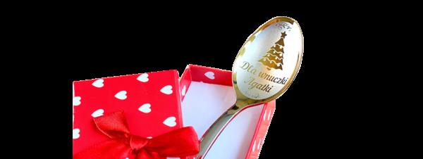 łyżeczka nierdzewna z wygrawerowanym imieniem żeńskim w pudełku na prezent świąteczny