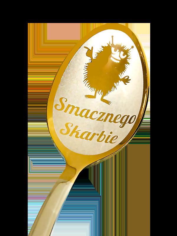 łyżeczka nierdzewna srebrne-złotego koloru z wygrawerowanym napisem jako prezent dla niego